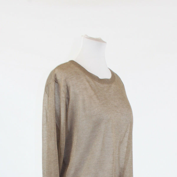 Light brown LEITH scoop neck long sleeve back slit semi sheer sweater L