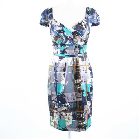 Dark blue white brushstroke print satin DAVID MEISTER cap sleeve sheath dress 4