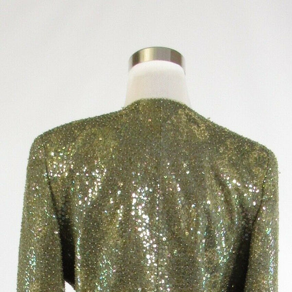 Olive green gold beaded NAEEM KHAN Fine Feathers long sleeve bolero jacket 8-Newish