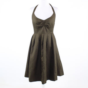 Brown 100% cotton J. CREW halter neck pleated waist A-line dress 6P