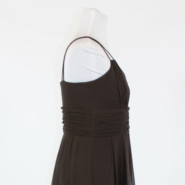 Brown 100% silk ANN TAYLOR spaghetti strap V-neck empire waist dress 8P