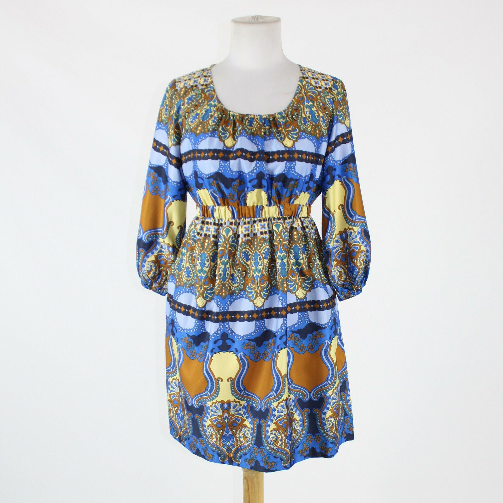 Blue brown and yellow paisley EMMELEE 3/4 sleeve scoop neck above knee dress S-Newish