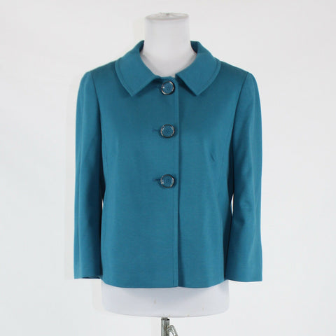 Blue rayon TALBOTS 3/4 sleeve stretch pleated back collared jacket 6
