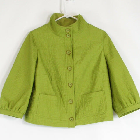Avocado green textured CARLISLE 3/4 sleeve jacket 2
