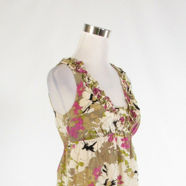 Light beige green floral print silk blend ANN TAYLOR LOFT empire waist dress 0