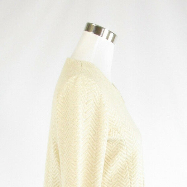 Light beige chevron 100% cotton ROSI NETRA long sleeve cardigan sweater M