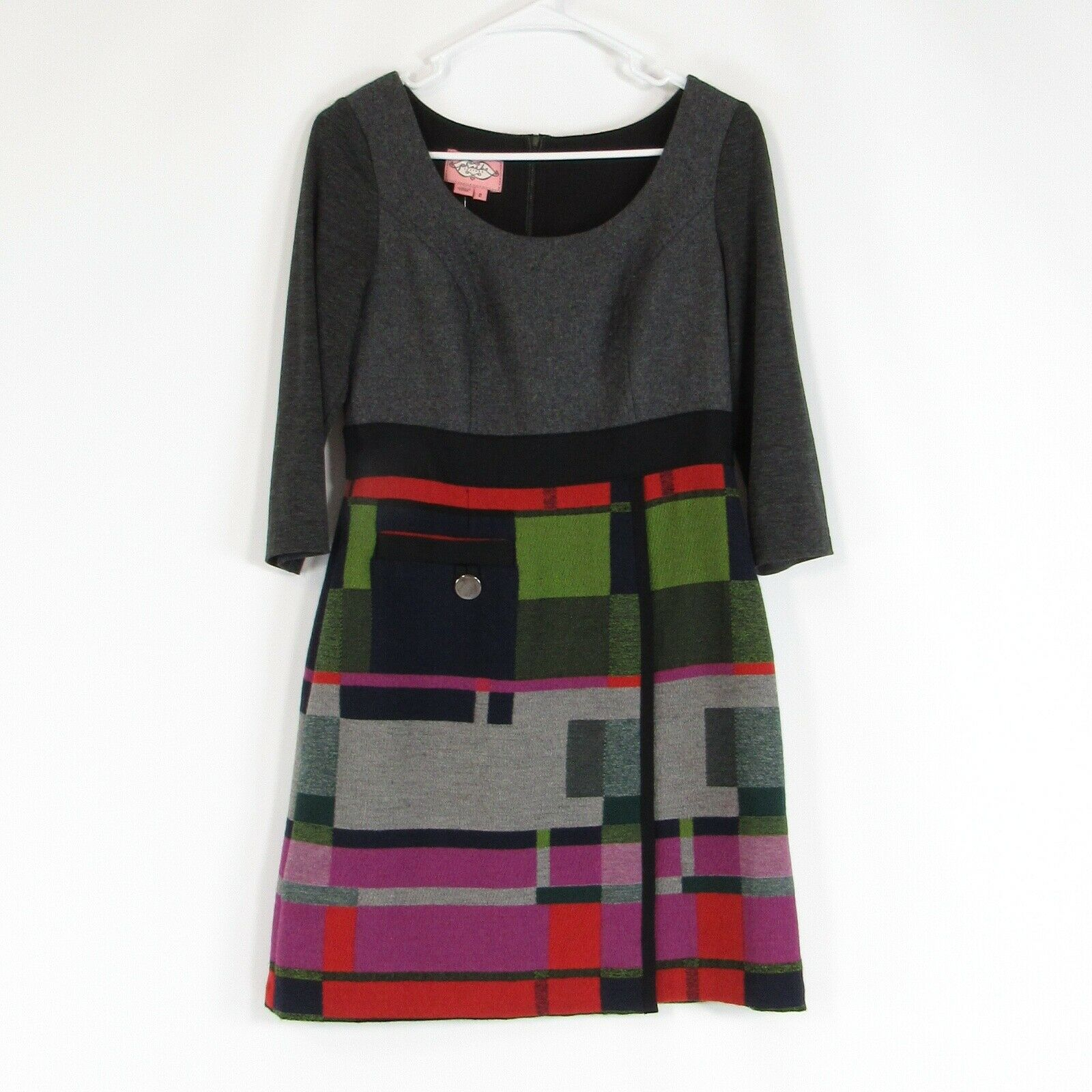 Multicolor geometric wool blend PHOEBE COUTURE sheath dress 2