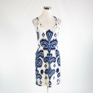 Ivory purple ikat 100% silk BANANA REPUBLIC sleeveless sheath dress 2