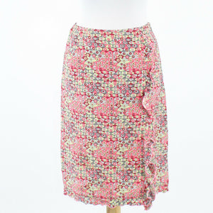 Light green pink red gray geometric 100% silk BETH BOWLEY straight skirt S-Newish