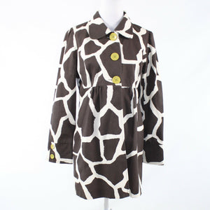 Brown white giraffe 100% cotton 3 SISTERS long sleeve coat M