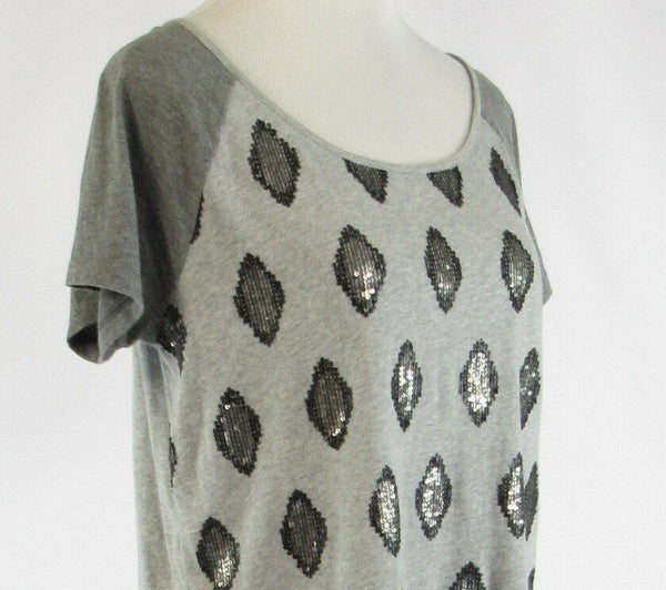 Heather gray diamond 100% cotton ANN TAYLOR LOFT short sleeve blouse S-Newish