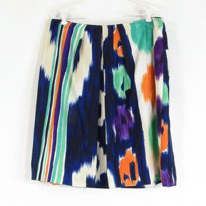 Multicolor ikat 100% silk DONCASTER COLLECTION A-line skirt 14 NWT $250.00