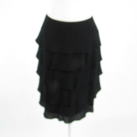 Black 100% wool TERI JON Rickie Freeman tiered skirt 8-Newish
