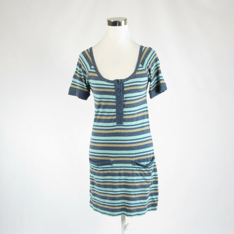 Teal green uneven striped cotton blend MARC JACOBS short sleeve sheath dress S