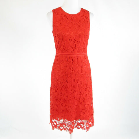 Dark orange floral lace ANN TAYLOR sleeveless sheath dress 2