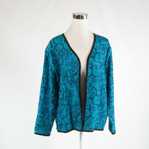 Turquoise blue black scroll 100% silk CHICO'S long sleeve blazer jacket 2 M 12