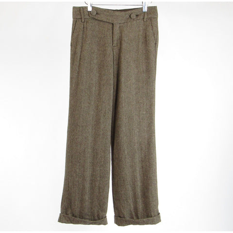Brown herringbone wool blend BANANA REPUBLIC straight leg dress pants 2