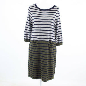 Cool brown black striped stretch TALBOTS 3/4 sleeve sweater dress PL-Newish