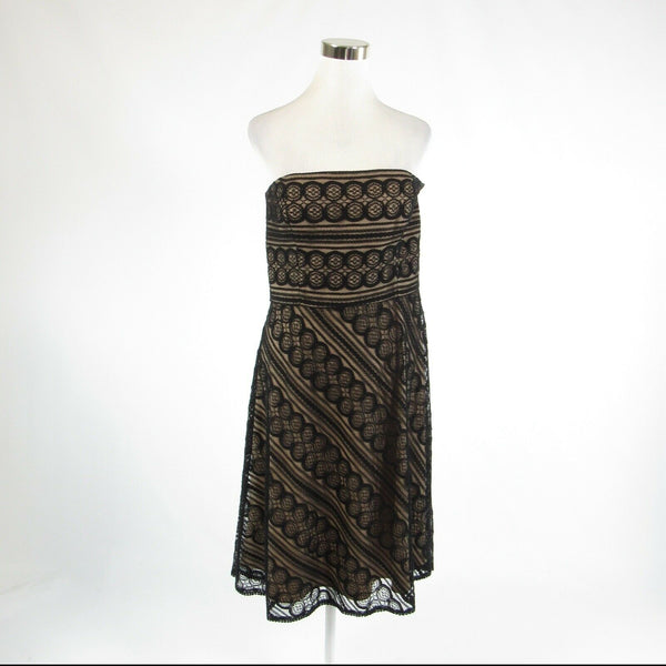 Black beige geometric crochet lace ANN TAYLOR LOFT sleeveless A-line dress 12
