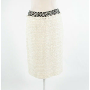 Ivory black textured cotton blend DD COLLECTION pencil skirt 4