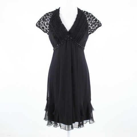 Black sheer overlay BADGLEY MISCHKA beaded trim cap sleeve dress S-Newish