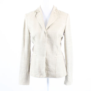Beige tweed TAHARI long sleeve blazer jacket 2