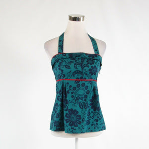 Teal green blue floral print cotton blend FEI stretch halter neck blouse 2-Newish