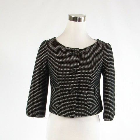 Black white squares 100% cotton THE LIMITED 3/4 sleeve bolero jacket XS