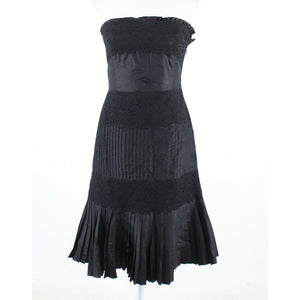 Black silk blend BANANA REPUBLIC lace and pleated trim strapless A-line dress 2