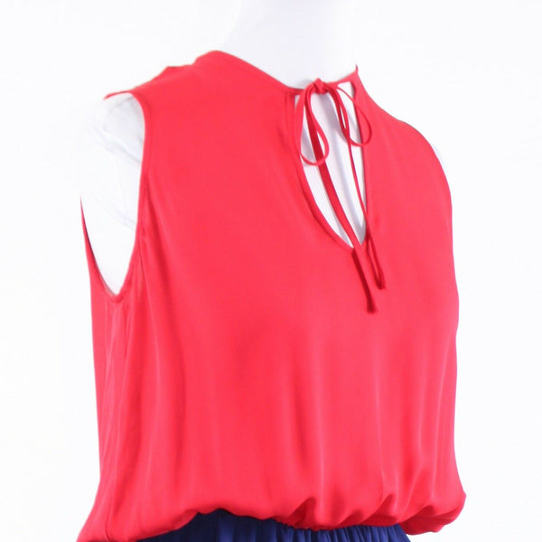 Pink red blue color block 100% silk JAY GODFREY sleeveless blouson dress 4-Newish