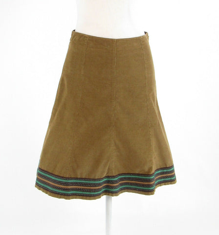Olive green brown corduroy BODEN A-line skirt 8