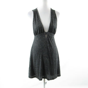 Charcoal gray silver space dyed FREE PEOPLE stretch sleeveless A-line dress PS