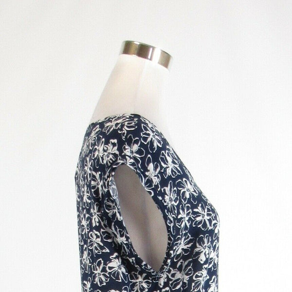 Navy blue white floral print BANANA REPUBLIC sleeveless blouse M-Newish