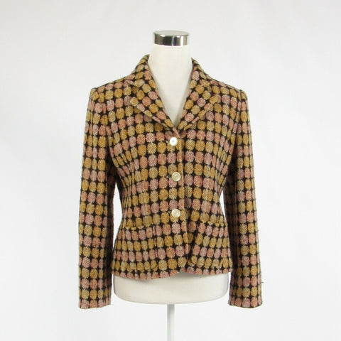 Mustard yellow pink geometric tweed TROUSERS ETC. long sleeve jacket 8-Newish
