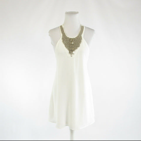 White L'ATISTE BY AMY beaded trim stretch racerback sleeveless sun dress S