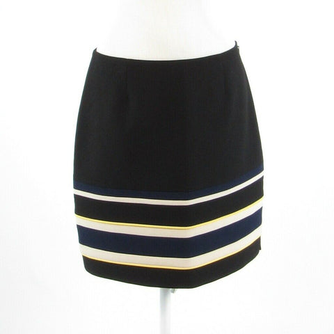 Black white uneven striped WHITE HOUSE BLACK MARKET pencil skirt 8 NWT $98.00