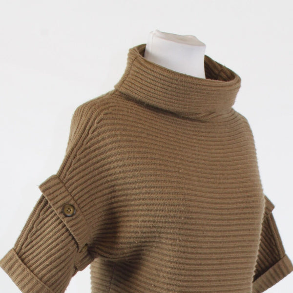 Brown ANN TAYLOR 1/2 sleeve cowl neck button trim ribbed sweater PXXS