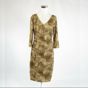 Metallic gold brown cheetah DAVID MEISTER stretch 3/4 sleeve sheath dress 10