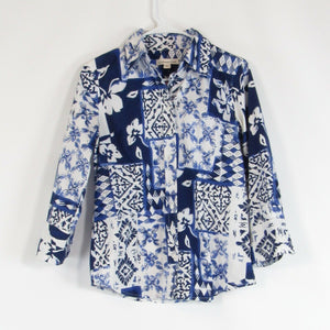 White blue floral print cotton blend COLDWATER CREEK button down blouse S