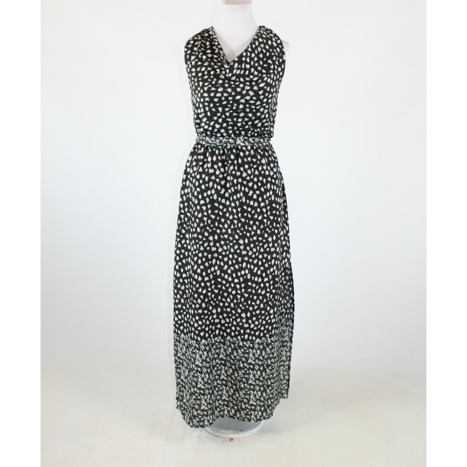 Black gray cheetah W118 BY WALTER BAKER maxi dress XS