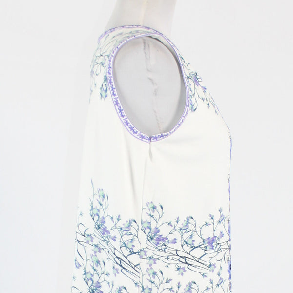White purple and blue floral rayon SOPHIE MAX sleeveless stretch shift dress S-Newish