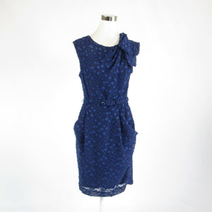 Dark blue textured EVA FRANCO sleeveless sheath dress 6-Newish