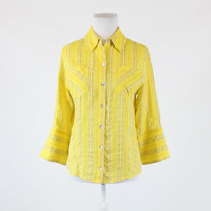 Lemon yellow ivory black striped silk blend CHICO'S button down blouse 0 XS 4