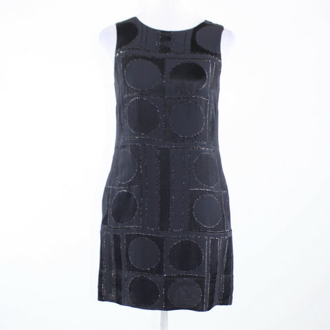 Charcoal gray black geometric burnt out velvet BANANA REPUBLIC sheath dress 4-Newish