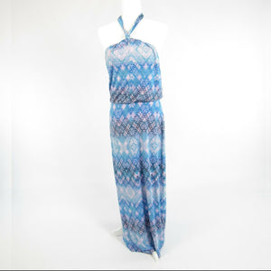 Blue pink geometric CYNTHIA ROWLEY stretch halter neck maxi dress L