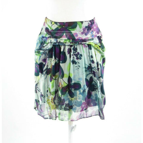 Light gray green floral print 100% silk WESTON WEAR sheer overlay A-line skirt 2