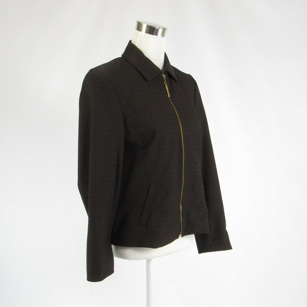 Dark brown seersucker BETTY BARCLAY long sleeve jacket 38 42-Newish