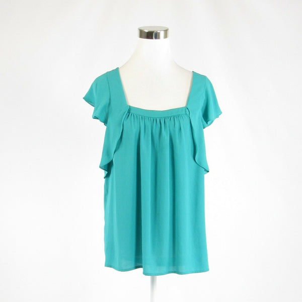 Turquoise blue ANTHROPOLOGIE MEADOW RUE sleeveless blouse 10 42-Newish