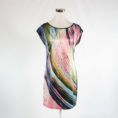 Navy blue pink abstract satin FORENZA stretch sleeveless shift dress 4