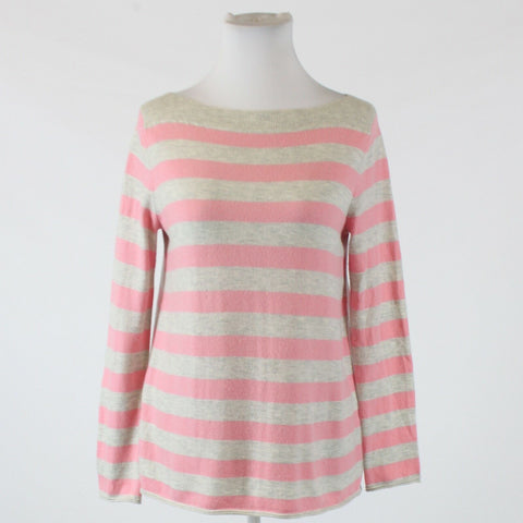 Stone gray light pink striped GAP long sleeve boat neck thin knit sweater S